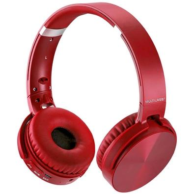 Headphone Multilaser Bluetooth 4.2, Vermelho - PH266