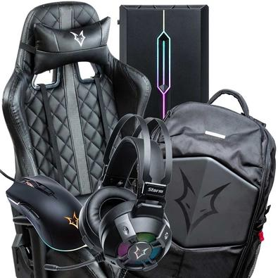 Kit Gamer Husky - Cadeira Hailstorm Mochila Avalanche Headset Storm Gabinete Avalanche Black Mouse Avalanche