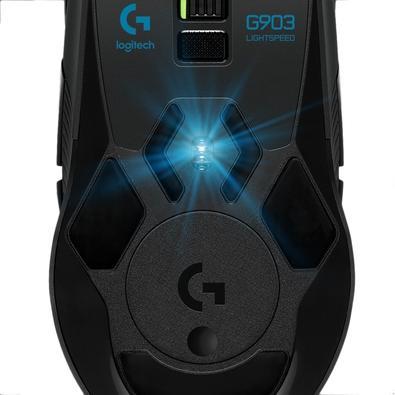 Mouse Sem Fio Gamer Logitech G903 Hero 16k Lightspeed, Recarregável, RGB Lightsync, 11 Botões, 16000DPI - 910-005671