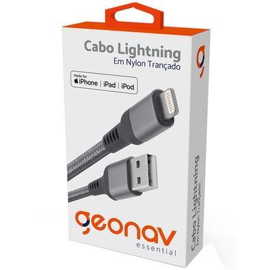 Cabo Lightning para iPhone MFI, 1m, Geonav Essential, Nylon Trançado, Cinza- ESLISG