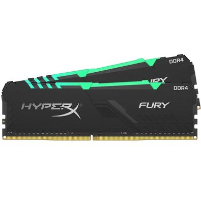 Memória HyperX Fury RGB, 32GB (2x16GB), 3000MHz, DDR4, CL15, Preto - HX430C15FB3AK2/32