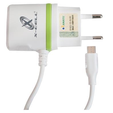 Carregador de Tomada X-Cell V8/Micro USB, 1 Entrada USB, Branco - 8045