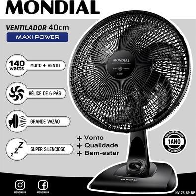 Ventilador de Mesa Mondial Maxi Power, 40cm, 3 Velocidades, 220V - NV-75-6P-NP