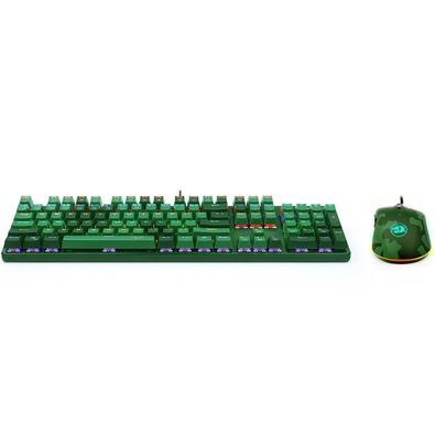 Kit Gamer Redragon S108 Light Green - Teclado Mecânico, Rainbow, Switch Outemu Blue, ANSI + Mouse RGB Camuflado - S108