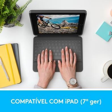 Capa com Teclado Logitech Rugged Folio para iPad 7ª Geração com Carregamento via Smart Connector - 920-009312