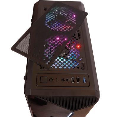 Gabinete Gamer Oex Shelter, Mid Tower, RGB, com FAN, Lateral em Vidro - GH200 Black