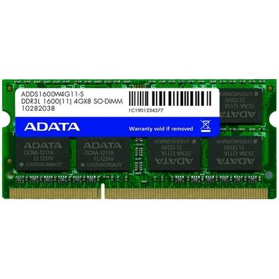 Memória Adata 1600 SO-DIMM 8GB, 1600MHz, DDR3, CL11 - ADDS1600W8G11-S