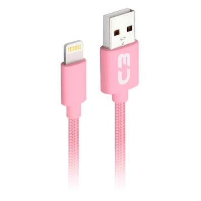 Cabo Lightning x USB, C3 Plus, 1m, Nylon, Rosa - CB-L11PK