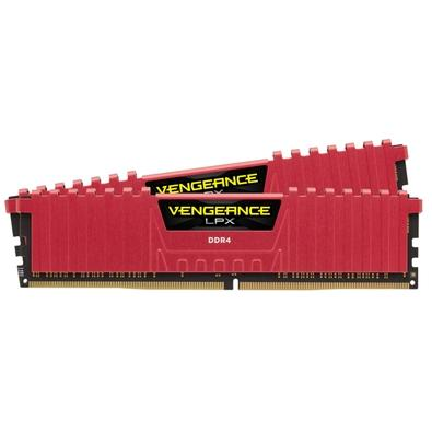 Memória Corsair Vengeance LPX 8GB (2x4GB) 2400Mhz DDR4 C14 Red - CMK8GX4M2A2400C14R