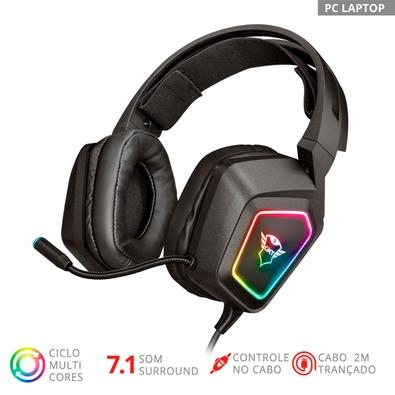 Headset Gamer Trust GXT 450 Blizz, RGB, 7.1 Som Surround, Drivers 40mm - 23191
