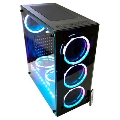 Gabinete Gamer K-mex Atlantis Sync, Mid Tower, ARGB, com FAN, Lateral em Vidro - CG05N9RH0010B0X