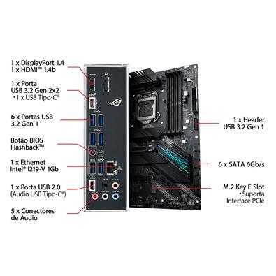 Placa-Mãe Asus ROG Strix B460-F Gaming, Intel LGA 1200, ATX, DDR4