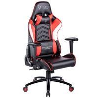 Cadeira Gamer Husky Gaming Storm, Preto, Vermelho e Branco, Com Almofadas, Reclinável, Descanso de Braço 2D - HST-RBW