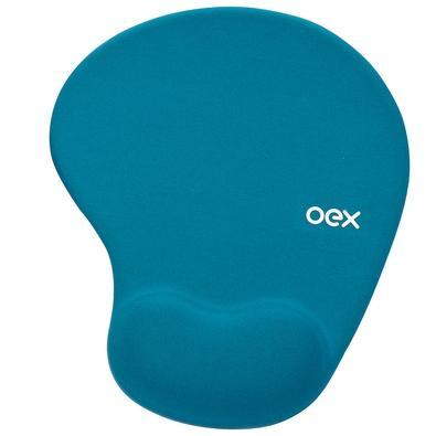 Mousepad OEX Gel Confort, Apoio de Pulso, Turquesa - MP200