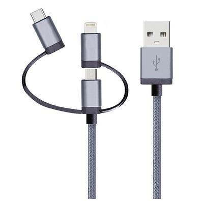 Cabo 3 em 1 Geonav - Lightning MFI/Micro USB/USB-C, 1.5 metros - LMC31GR