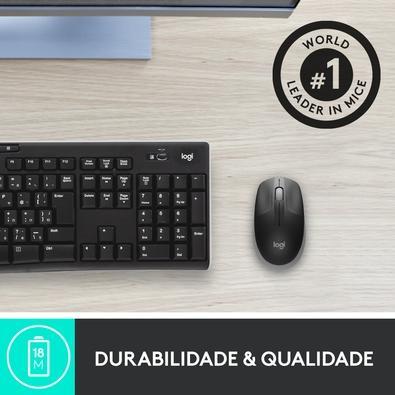 Mouse Sem Fio Logitech M190 com Design Ambidestro de Tamanho Padrão, 1000DPI, Conexão USB e Pilha Incluída, Cinza - 910-005902