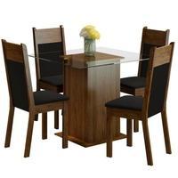 Conjunto Sala de Jantar Anita Madesa, Mesa Tampo de Vidro, 4 Cadeiras