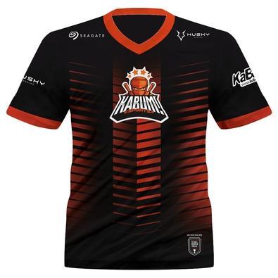 Camiseta Uniforme Oficial KaBuM! e-Sports 2021, Preta, Laranja, Ninja, Dry-Fit, Proteção UV 50+, 100% Poliester, Tamanho M