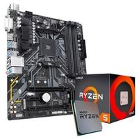 Kit Processador AMD Ryzen 5 1600, Cache 19MB, 3.2GHz + Placa-Mãe Gigabyte B450M DS3H, AMD, mATX, DDR4