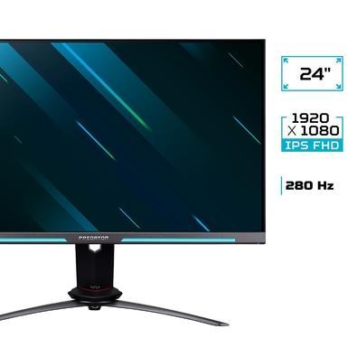 Monitor Gamer Acer Predator XB253Q, 24,5´, 280Hz, 0.5ms, Full HD, HDMI/Display Port, NVIDIA G-Sync, IPS, Overlock Integrado - UM.KX3AA.W02