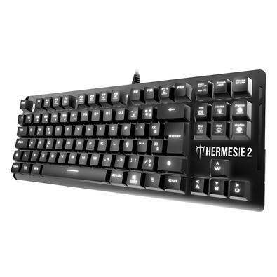Teclado Mecânico Gamer Gamdias Hermes E2, LED Branco, Switch Huano Brown, Layout ABNT2, Preto - HERMES E2 BR-BROWN