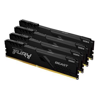 Memória Kingston Fury Beast, 32GB (4x8GB), 2666MHz, DDR4, CL16, Preto - KF426C16BBK4/32
