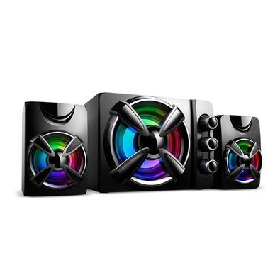 Caixa de Som Gamer Multilaser, Audio 2.1, 30W RMS, RGB, USB/P2, Plug And Play, Preto- SP952