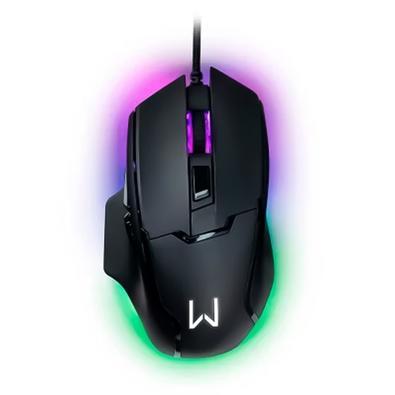Mouse Gamer Warrior Gunter, LED Rainbow, 6400 DPI, 6 Botões, Preto - MO297