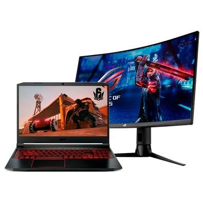 Notebook Gamer Acer Nitro 5 Intel Core i7-10750H, GTX 1660TI 6GB + Monitor Gamer Asus ROG Strix XG32VC 31.5´ WHQHD, 1ms, 170Hz, HDR400