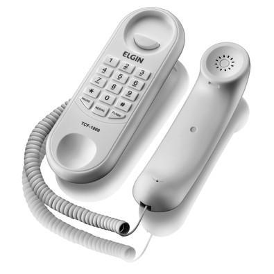 Telefone Elgin Estilo Gondola, Redial, Flash, Pause, Discagem Pulso/Tom e Controle de Volume da Campainha TCF 1000 Branco