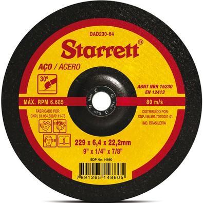 Disco Abrasivo de Desbaste Starrett 229X6.4X22.2mm  ( DAD230-64 )