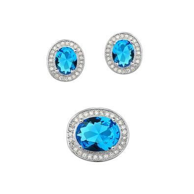 Conjunto de Brincos e Pingente Oval Azul Água Marinha - CJMT005