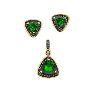 Conjunto de Brincos e Pingente Triangular Verde Esmeralda com Micro Zircônias Pretas - CJZY-T112-Turm/Black