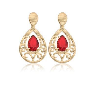 Brinco Arabesco Vermelho Rubi e Ouro Branco - BKD0067
