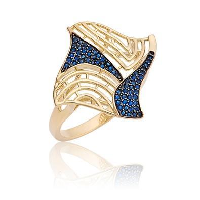 Anel Dourado com Micro Zircônias Safira Azul Tamanho 22 - ANZ0680
