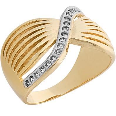 Anel Dourado com Zircônias Tamanho 22 - AN700226F