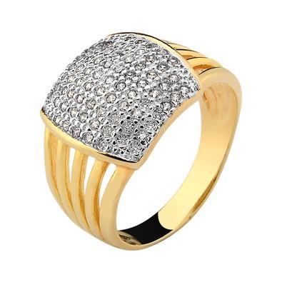Anel Dourado com Zircônias Tamanho 16 - AN700237F