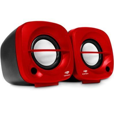 Caixa de Som C3 Tech 2.0 Portátil 3W RMS Vermelha - SP-303RD