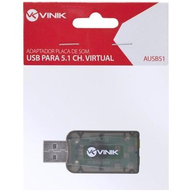 Adaptador de Som  Vinik USB 5.1 Canais Virtual  AUSB51
