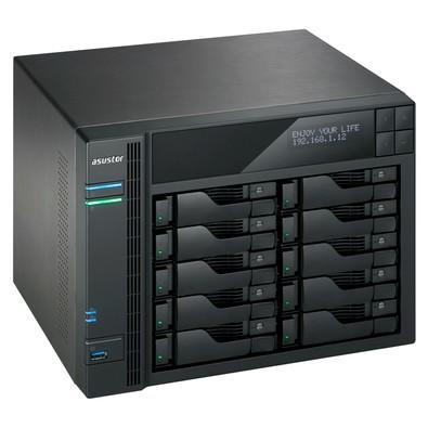 Storage Asustor NAS Intel Celeron 1.6GHz Quad-Core 4GB DDR3 Torre 10 Baias Sem Disco - AS6210T
