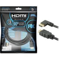 Cabo HDMI PIX 5m 2.0 4K 19 Pinos - Plug 90 Graus 018-3325