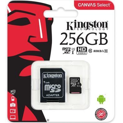 Cartão de Memória Kingston Canvas Select MicroSD 256GB Classe 10 com Adaptador - SDCS/256GB