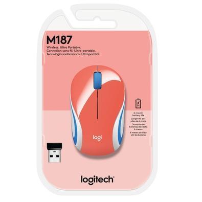 Mini Mouse Logitech M187 Sem Fio Coral 1000DPI - 910-005362