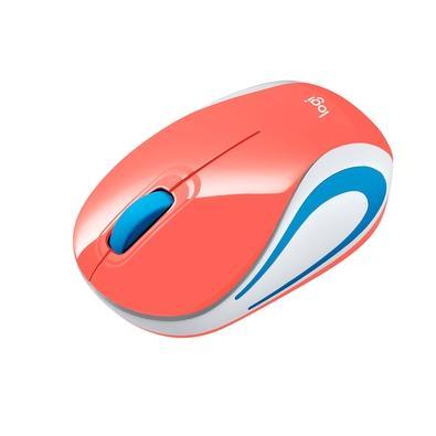 Mini Mouse sem fio Logitech M187 com Design Ambidestro, Conexão USB e Pilha Inclusa, Coral - 910-005362