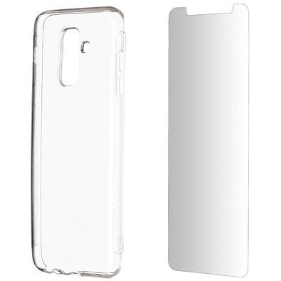 Kit 2 em 1 Celular Mart - Película de Vidro e Case de Silicone Transparente para Galaxy A6 Plus