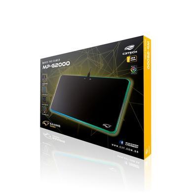 Mousepad Gamer C3 Tech MP-G2000BK, Rígido, Speed, RGB, Médio (350x260mm)