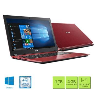 Notebook Acer Aspire 3, Intel Core i5-7200U, 4GB, 1TB, Windows 10 Home, 15.6´, Vermelho e Preto - A315-51-5796