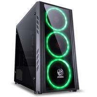 Gabinete Gamer PCYes Saturn sem Fonte, Mid Tower, USB 3.0, 3 Fans LED Verde, Preto com Lateral em Acrílico/Frontal em Vidro - SATPTVD3FCA