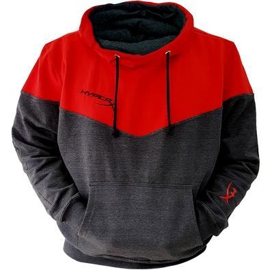Moletom HyperX Oficial Modelo Canguru, Vermelho e Cinza - Tamanho P