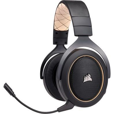 Headset Gamer Corsair HS70 Wireless Carbono, 7 1 Surround, Gold -  CA-9011178-NA